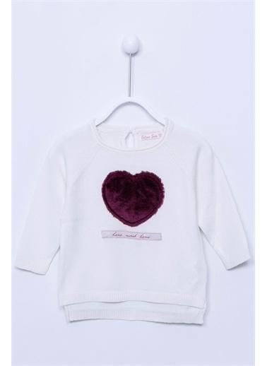 Silversun Kids Kalp Baskılı Uzun Kollu Bebek Kız Triko Kazak T-113153 Ekru